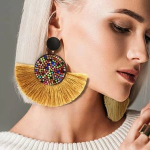 Nip Gold bohemian fringe&multigem colored earrings